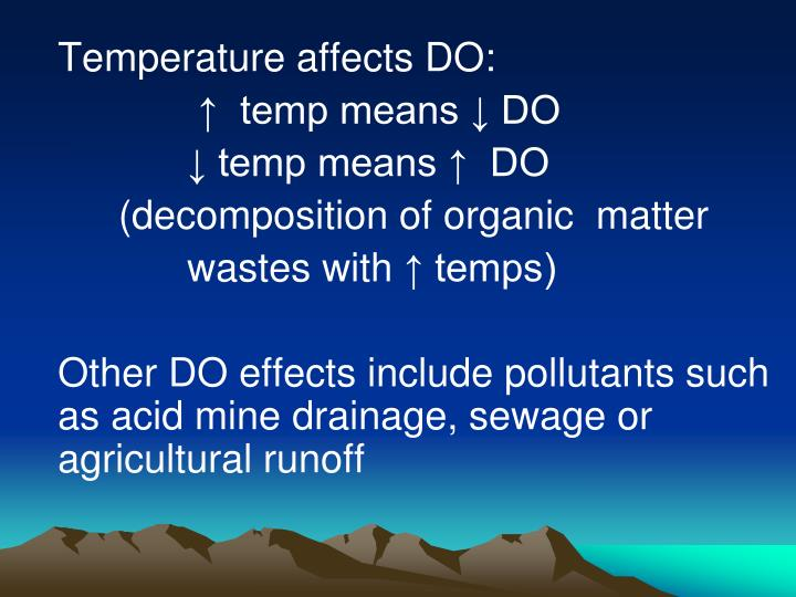 Temperature affects DO: