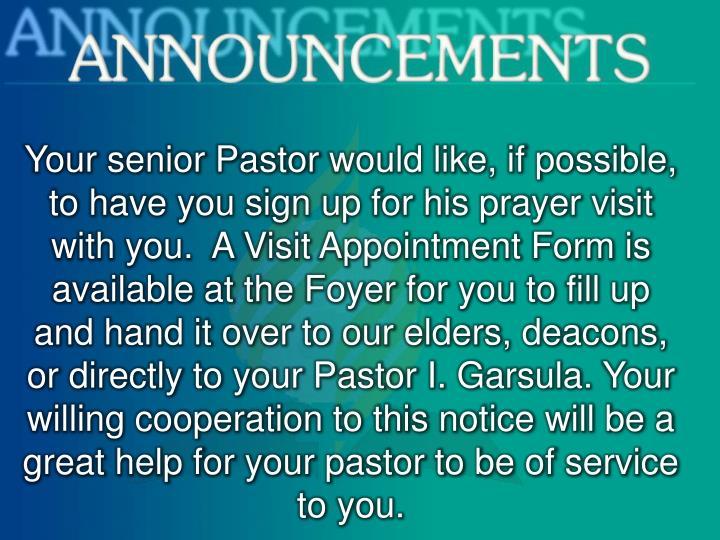 Your senior Pastor