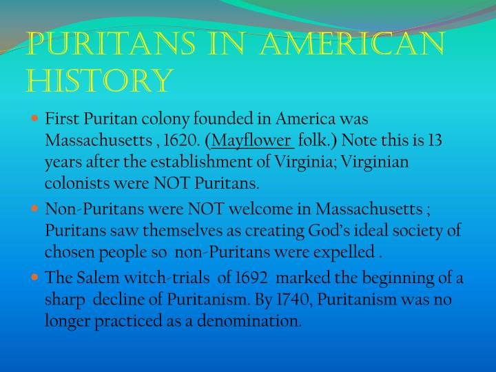 Puritans in American history