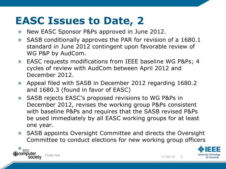 EASC Issues to Date, 2