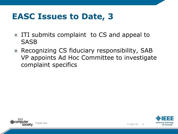 EASC Issues to Date, 3
