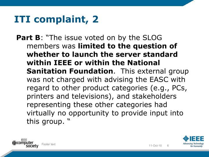 ITI complaint, 2