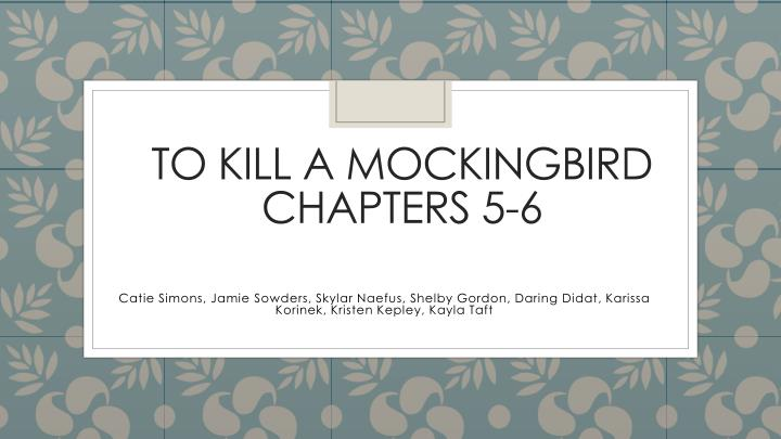 To kill a mockingbird chapters 5 6