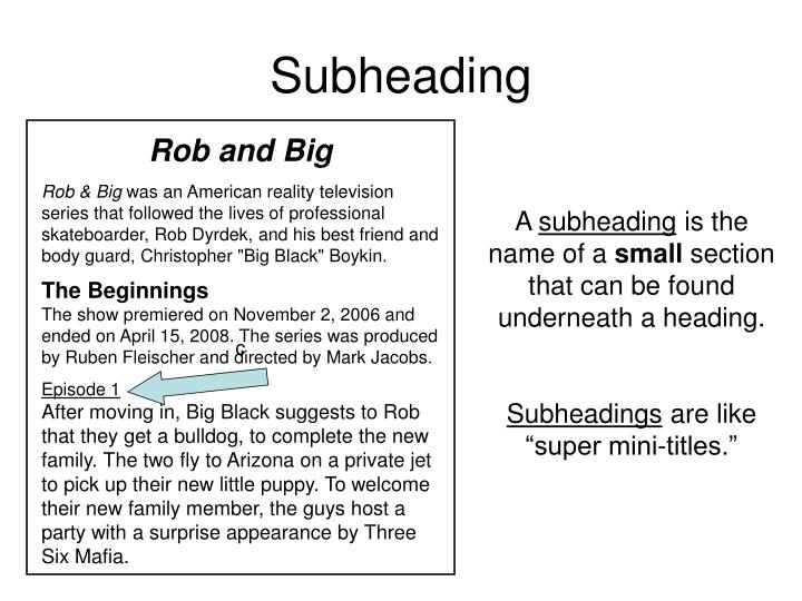Subheading