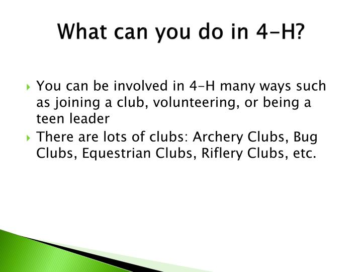 What can you do in 4-H?