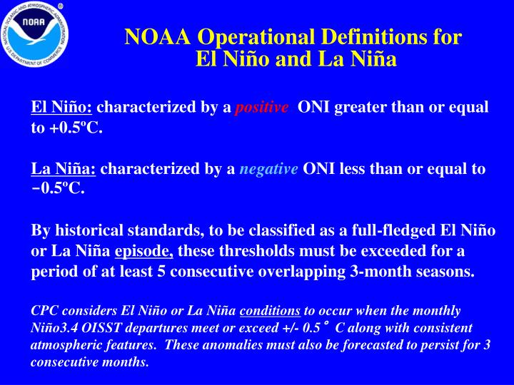 NOAA Operational Definitions for