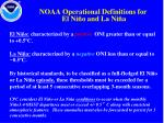 noaa operational definitions for el ni o and la ni a