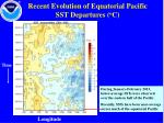 recent evolution of equatorial pacific sst departures o c