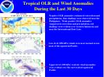 tropical olr and wind anomalies during the last 30 days