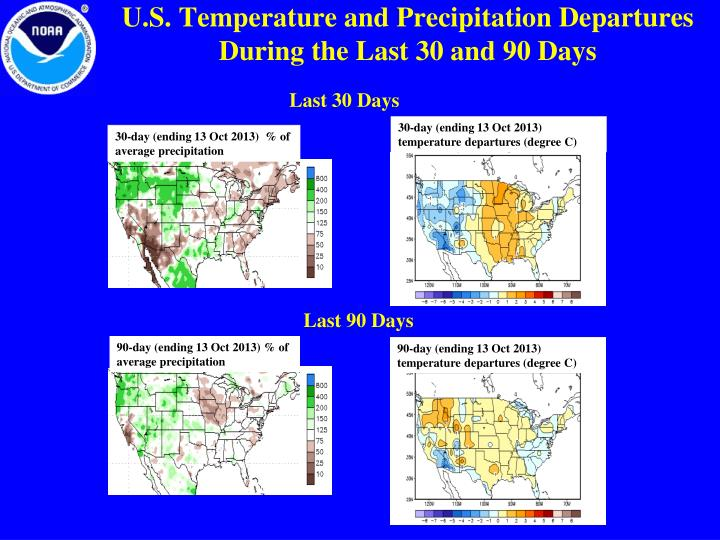U.S. Temperature and Precipitation Departures During the Last 30 and 90 Days