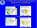 u s temperature and precipitation departures during the last 30 and 90 days
