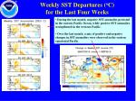 weekly sst departures o c for the last four weeks