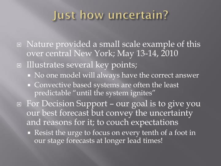 Just how uncertain?
