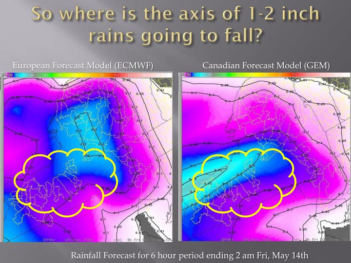 So where is the axis of 1-2 inch rains going to fall?