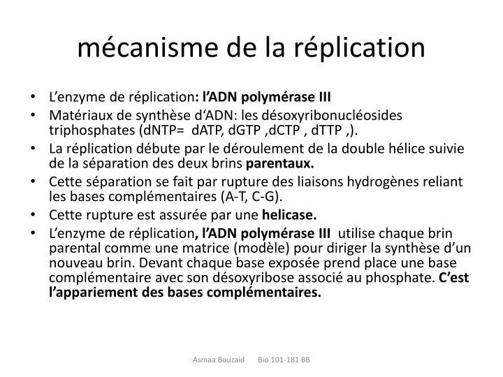 mécanisme de la réplication