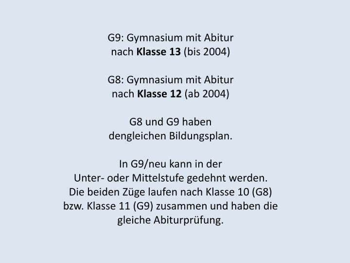 G9: Gymnasium mit Abitur