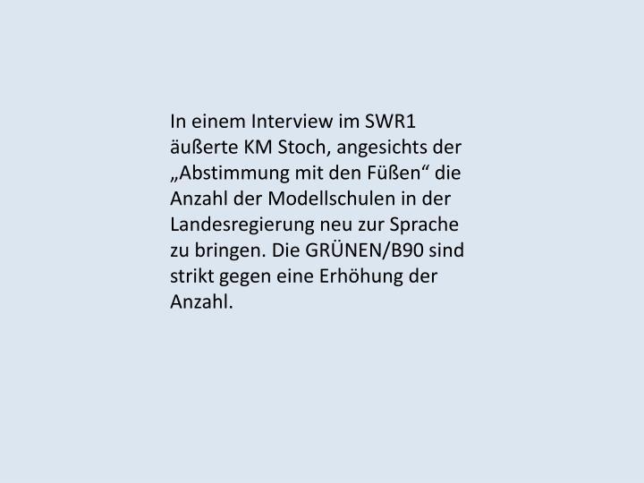 In einem Interview im SWR1 äußerte KM