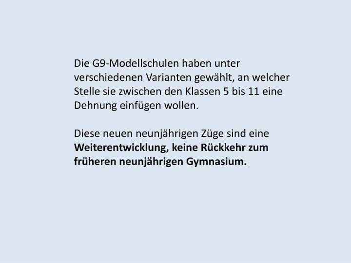 Die G9-Modellschulen
