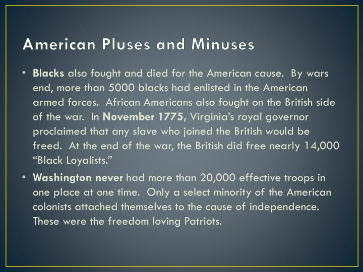American Pluses and Minuses