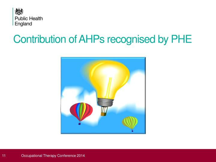 Contribution of AHPs recognised by PHE