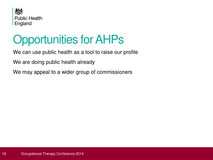Opportunities for AHPs