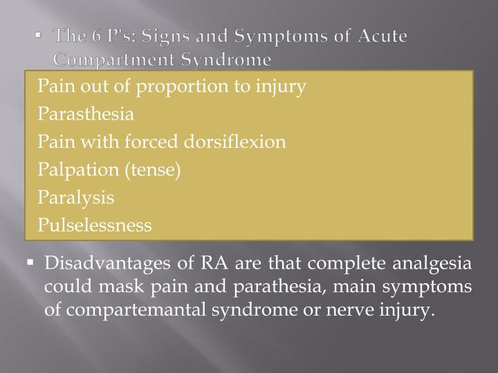 The 6 P's: Signs and Symptoms of Acute Compartment Syndrome