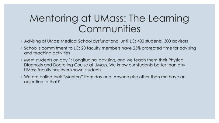 Mentoring at UMass: The Learning Communities