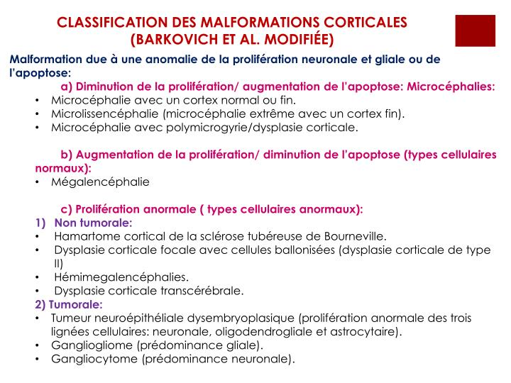 CLASSIFICATION DES MALFORMATIONS CORTICALES (BARKOVICH ET AL. MODIFIÉE)
