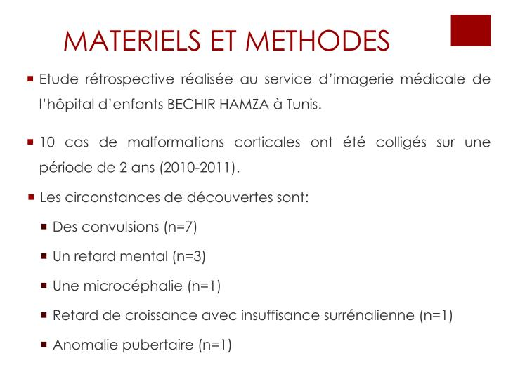 Materiels et methodes