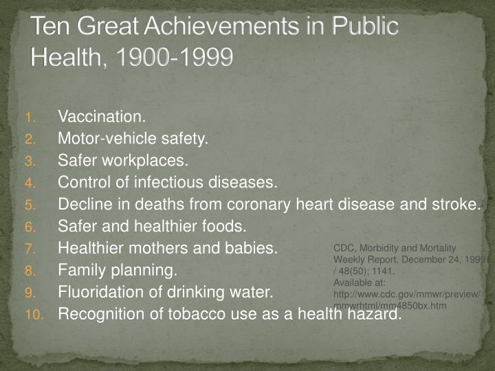 Ten Great Achievements in Public Health, 1900-1999