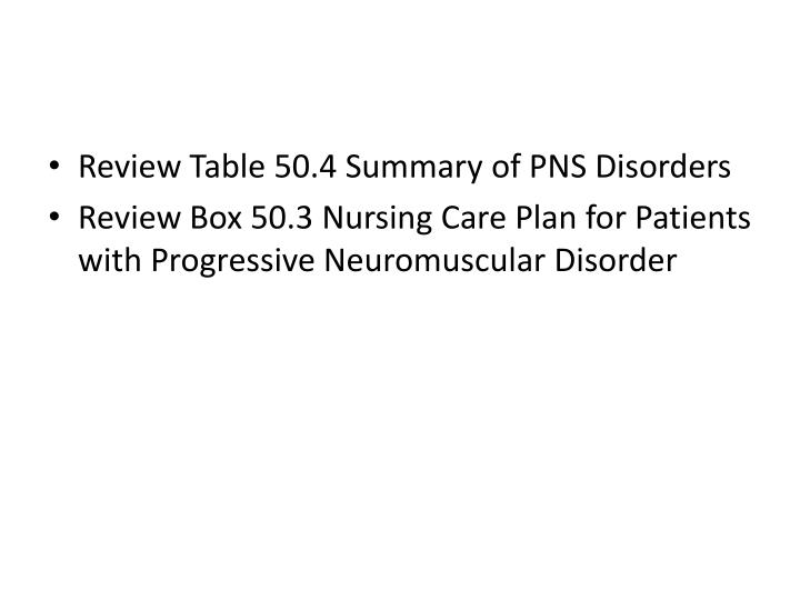 Review Table 50.4 Summary of PNS Disorders