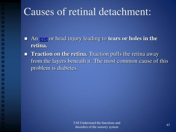 Causes of retinal detachment: