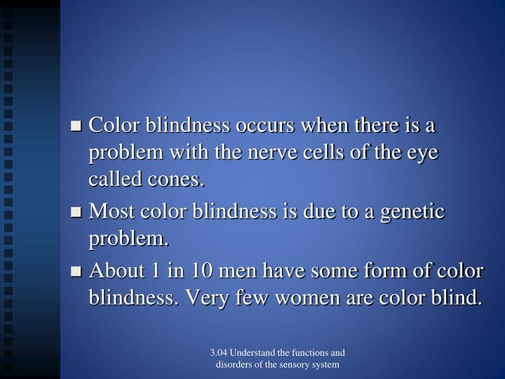 Color blindness occurs when there is a problem with the nerve cells of the eye called cones.