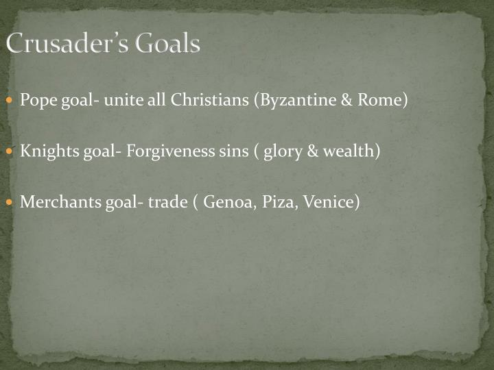Crusader's Goals