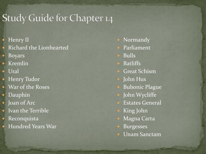 Study Guide for Chapter 14