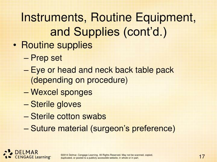 Instruments, Routine Equipment, and Supplies (cont'd.)