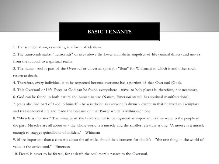 Basic Tenants