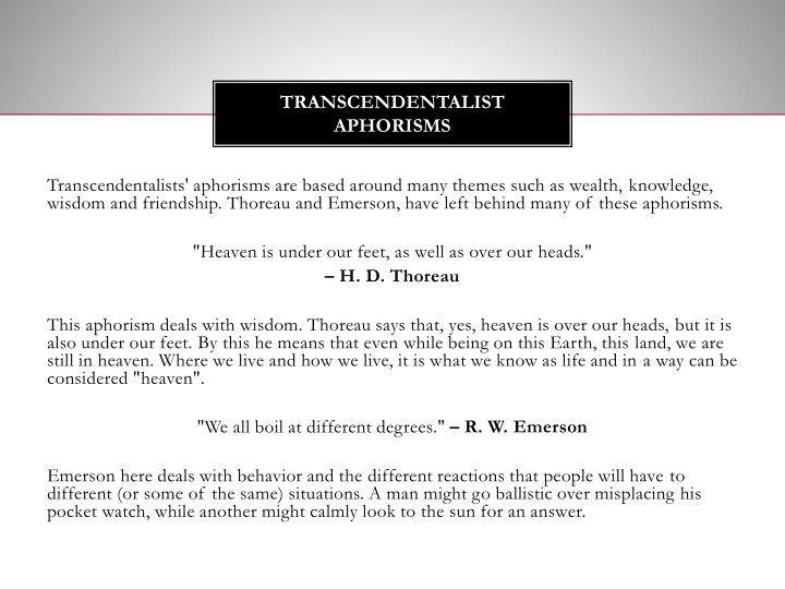 Transcendentalist Aphorisms
