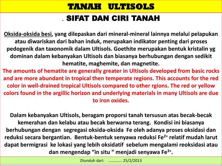 TANAH   ULTISOLS
