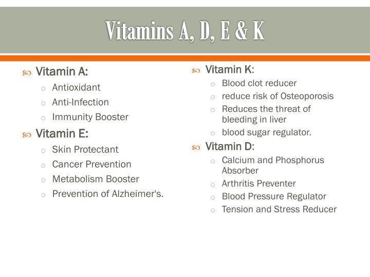 Vitamins A, D, E & K
