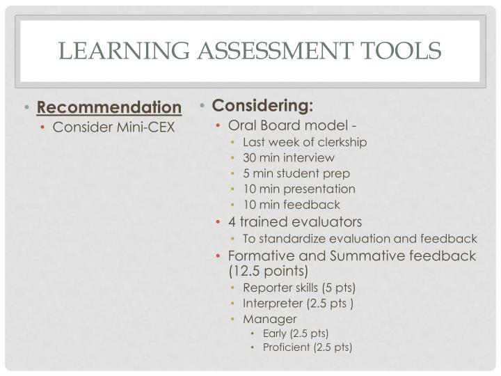 Learning Assessment Tools