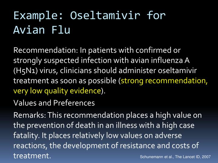 Example: Oseltamivir for Avian Flu