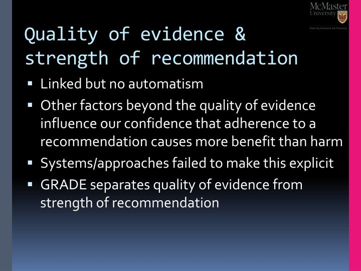 Quality of evidence & strength of recommendation