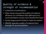 quality of evidence strength of recommendation
