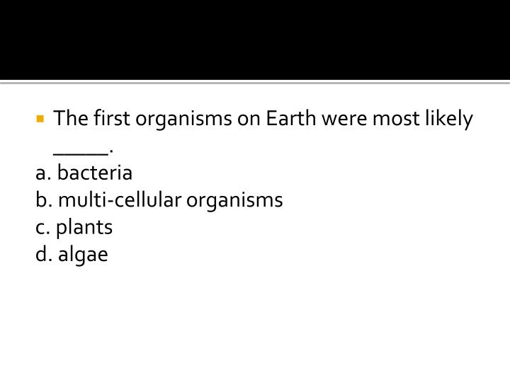 The first organisms on Earth were most likely _____.