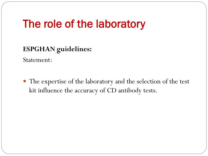 The role of the laboratory