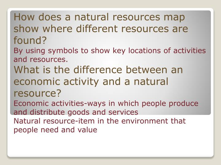 How does a natural resources map show where different resources are found?
