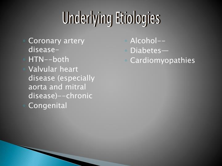 Underlying Etiologies