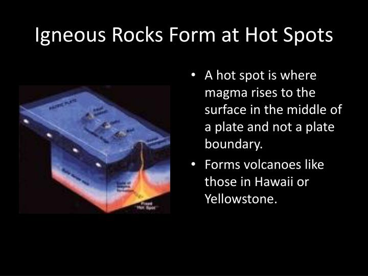 Igneous Rocks Form at Hot Spots