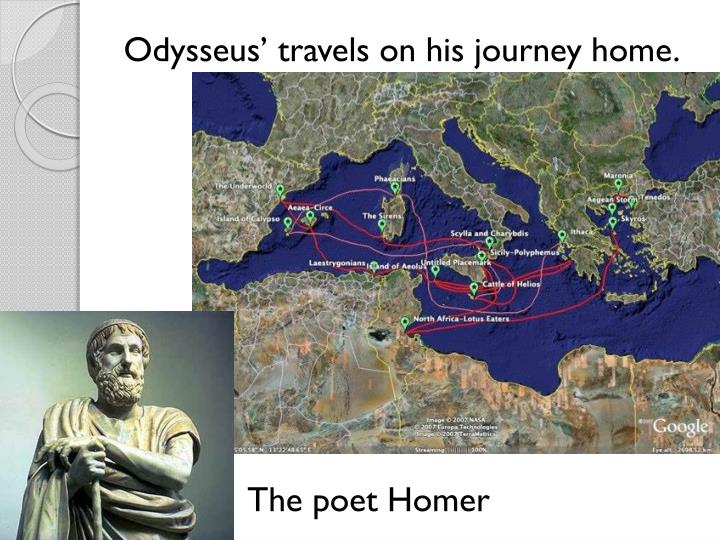 Odysseus' travels on his journey home.